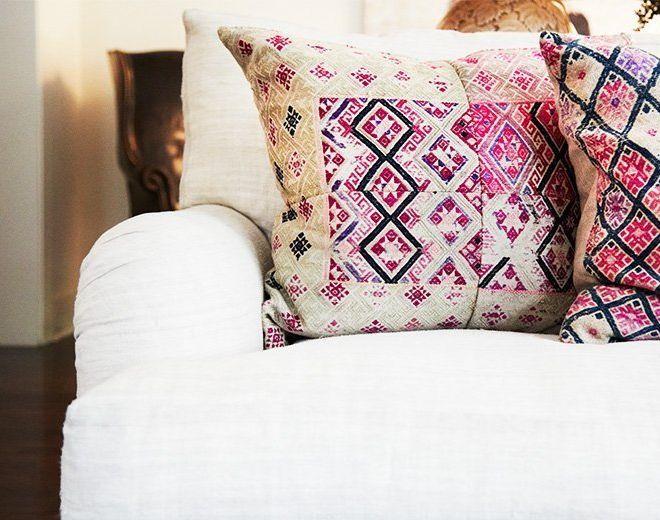 I LOVE these batik pink pillows!