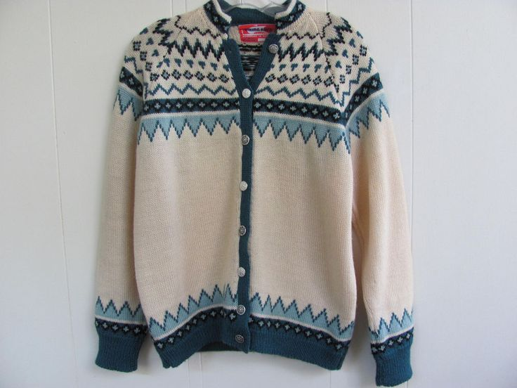 Viking Knit Handmade in Norway 100% Wool Cardigan Sweater Med/ Large - Nice! #VikingKnit #Cardigan