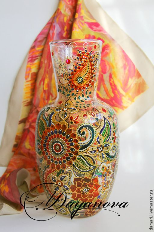 """Купить Ваза """"Индия - праздник красок"""" - разноцветный, стекло, Витражная роспись, витражные краски, ваза"""