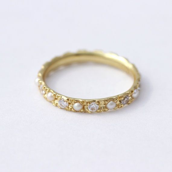 pearl wedding ring pearl eternity ring pearl