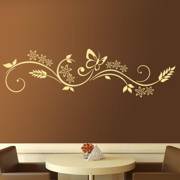 Vinilo decorativo de mariposas compuesto por espigas, flores y una mariposa. Una excelente composición horizontal, que se ha convertido en uno de nuestros mejores vinilos. Ideal para decorar, con un motivo natural, de formas curvas. Combina el color del vinilo con el color de un mueble o complemento.