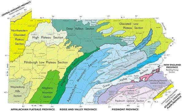 MAP: Physical Landform Regions (Provinces) of Pennsylvania   (source: U.S. Gov.)   [Click for full view]