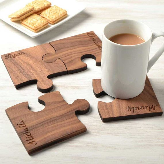Bring some fun to your table top with these wonderful personalised wooden jigsaw coasters.  The jigsaw coasters fit together beautifully and are