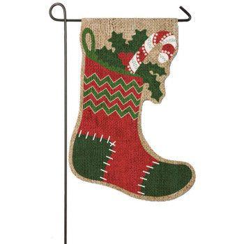 "Stocking Burlap house flag Measures 12 1/2"" X 18"""