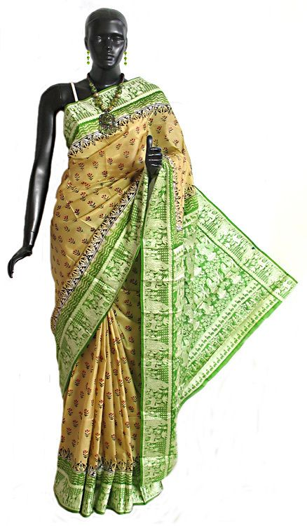Light Beige Silk Saree with Light Green Baluchari Design Border (Silk))