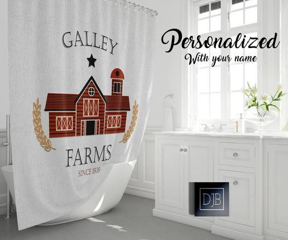 Personalized Rustic Red Barn Farmhouse Shower Curtain Farm Name