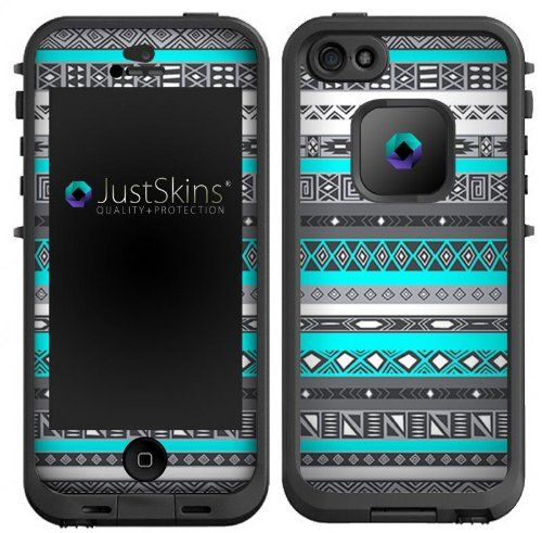 Neon Aqua Tribal Skin Decal for Lifeproof iPhone 5 Case Design (Case not included)
