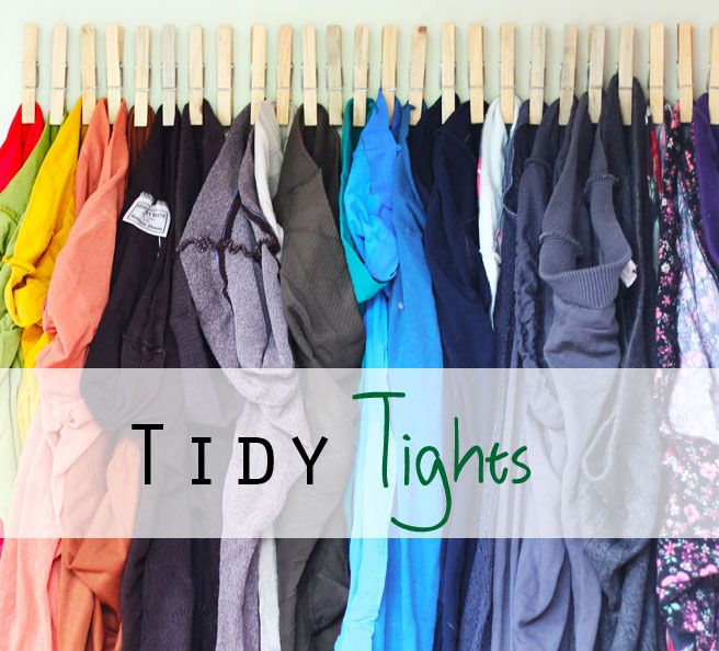 organize tights / scarves with clothespins