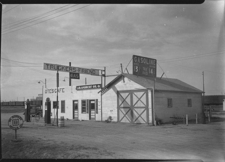 Ote's Café & J.B. Gabbert Oil 8th St. -- Hays, KS 1937 Photo courtesy of Hays Public Library