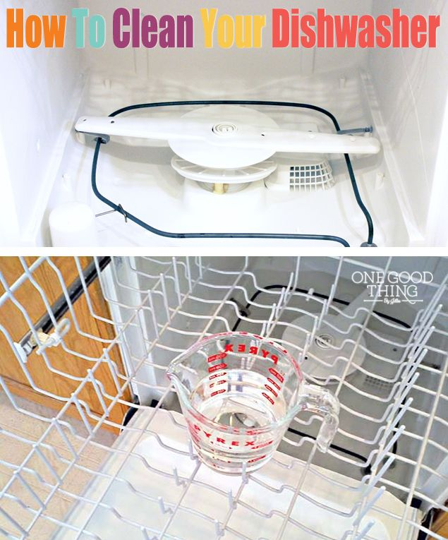How To Clean Your Dishwasher {Best Of Jillee} Run dishwasher with 1 cup of vinegar on top rack; then run again with 1 cup baking soda sprinkled in the bottom.