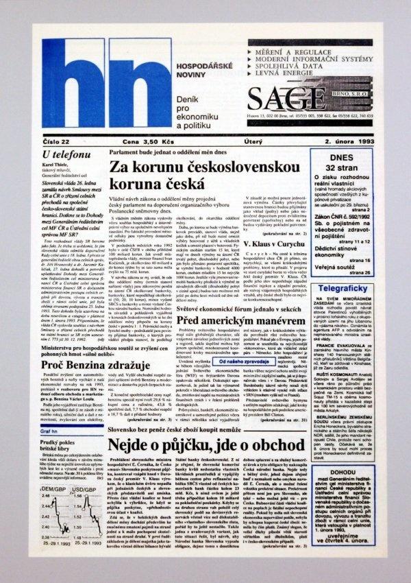 2.2.1993 - Československé koruny jsou nahrazeny českými v kurzu 1:1