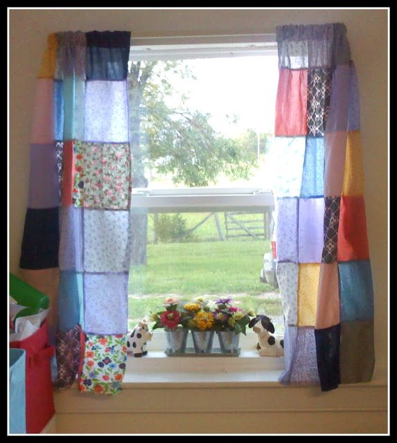 Patchwork Curtins - cute for the sewing room
