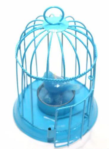 gaiola pássaro azul porta vela decor