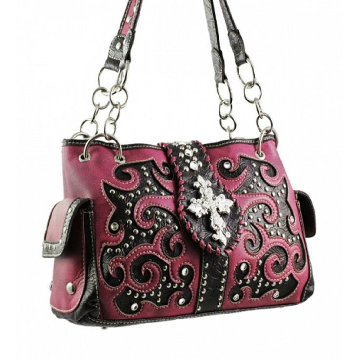 Handbags, Bling & More! Pink Studded Cross Shoulder Bag with Rhinestone & Studs : Western Style Cross Purses
