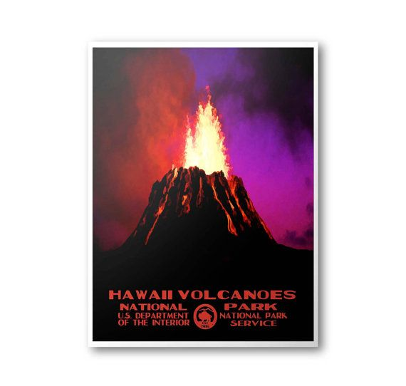Hawaii Volcanoes National Park Travel Poster
