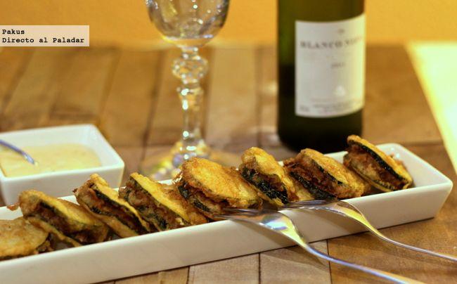 Mini emparedados de calabacín y carne especiada
