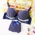 Azul A Cuadros de Encaje Arco Lindo Dulce Lolita Ropa Interior de Las Mujeres Intimates algodón Confort Soutien de La Ropa Interior Joven Empuja Hacia Arriba El Sistema Del Sujetador N122