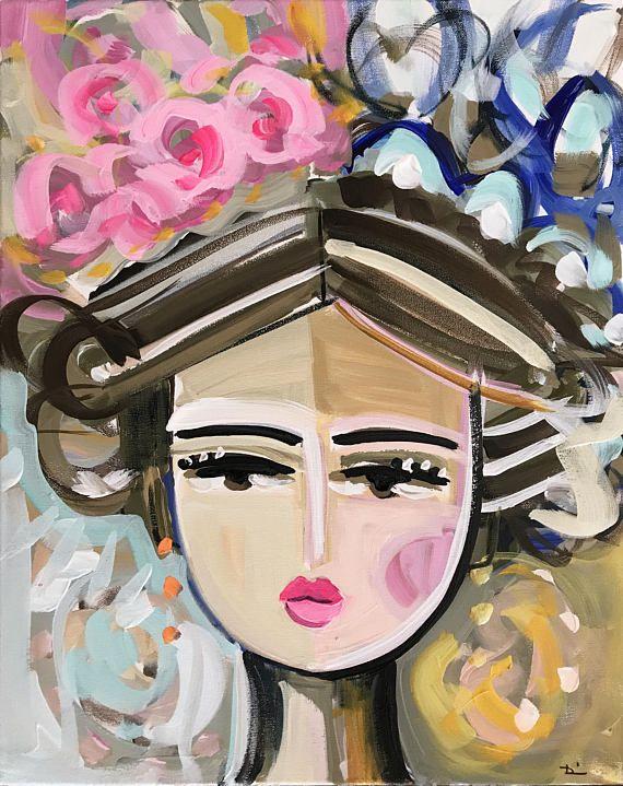 Warrior Girl PAINTING woman art impressionist modern abstract girl on ORIGINAL Rayya