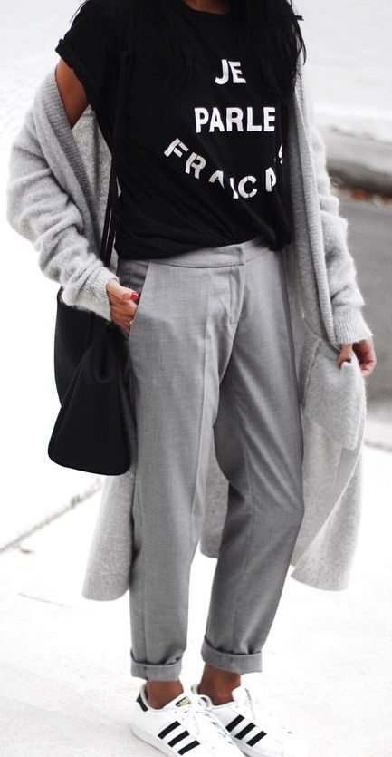 sporty chic. tailored trousers. cardi. adidas.