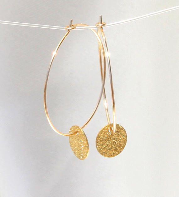 Gold Disc Hoop Earrings Gold Hoop Earrings Coin Hoop Earrings