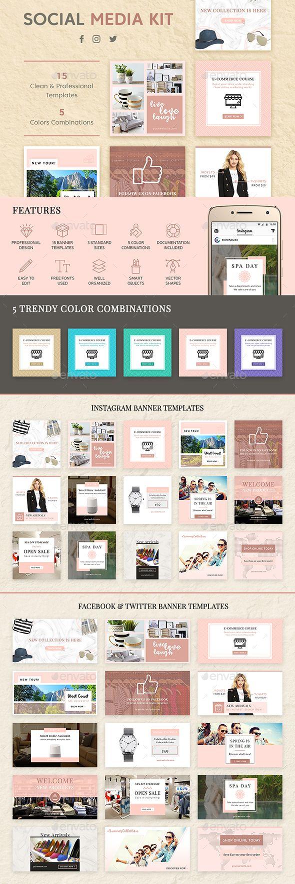 Social Media Kit — Photoshop PSD #twitter banners #kit • Download ➝ https://graphicriver.net/item/social-media-kit/19713200?ref=pxcr