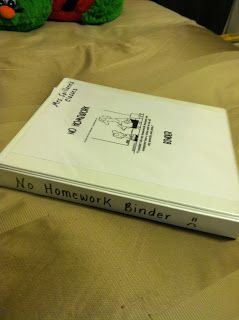 """""""No Homework Binder."""" It is a binder that you alphabetized for each student. When a student does not complete homework you file it,and have the students fill out a reflection sheet. Perfect for data when having a Parent-Teacher Conference."""
