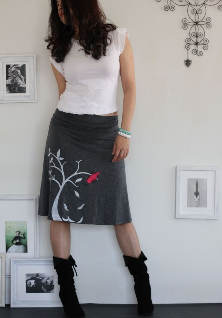 Tree Bird Skirt . Handmade appliqué skirt . Grey Knee Length A-line Skirt - The bird and the falling leaves on size Medium. $54.00, via Etsy.