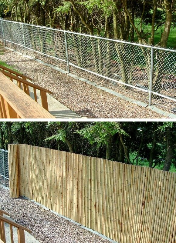 Bamboo mask for chain link fence!  Keep for reference (cheap looking) but never do...replace the whole fence instead.