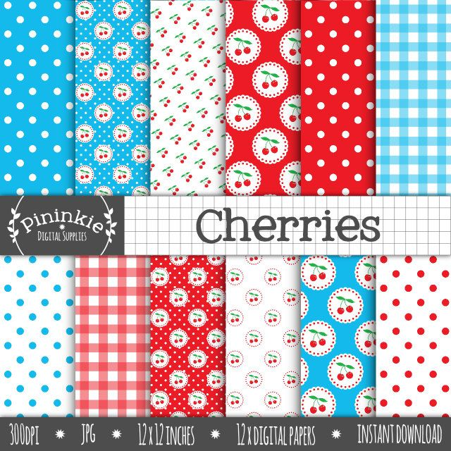 Cherry Digital Paper Pack, Cherries Digital Scrapbook Paper, Summer Fruit Background, Retro, Kitch, Instant Download, Commercial Use by Pininkie on Etsy