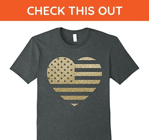 Mens Heart Us Flag Glitter Funny 4th of July US Independence Day 2XL Dark Heather - Funny shirts (*Amazon Partner-Link)