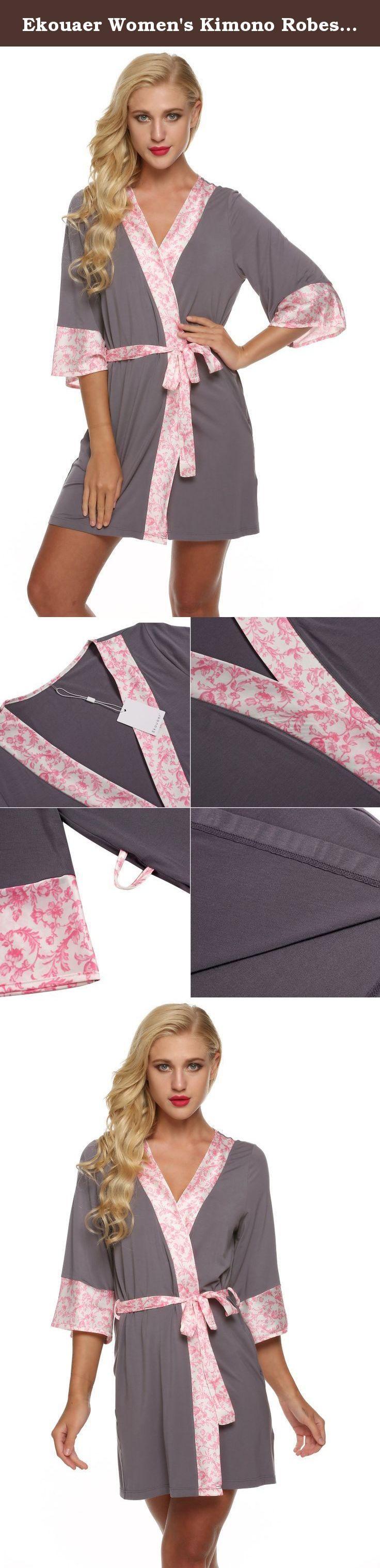 Ekouaer Women's Kimono Robes Lightweight Nightwear Short Style Sleepwear (Gray, Small). Ekouaer Robe Womens Kimono Bathrobes Lightweight Viscose Loungerwear Short (XS-XL) Eco-friendly Fabric: 95% Viscose+ 5% Elastane; Satin: 112%Polyester. Three quarter-sleeve robe featuring kimono collar^right on-seam pockets^inne ?????? ?? ?????? ??P ?????? ?? ?????? ??P ??????.