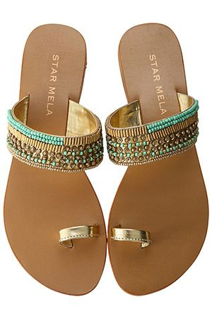 Turquoise & gold sandals