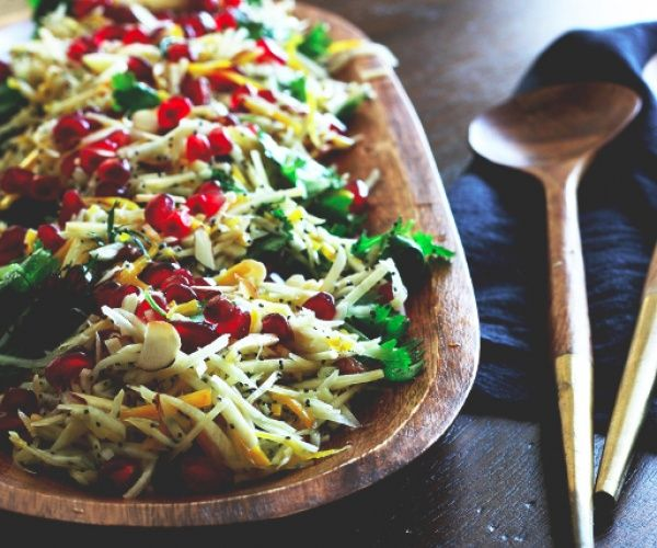 This fresh and festive crunchy root salad is inspired by Ottelenghi's Plenty More