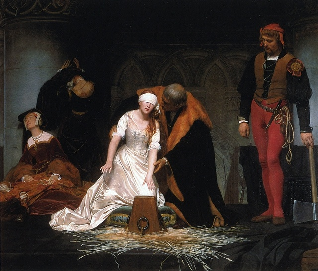 Paul Delaroche - The Execution of Lady Jane Grey [1834] Notice how gentle he is as he helps her to her death.