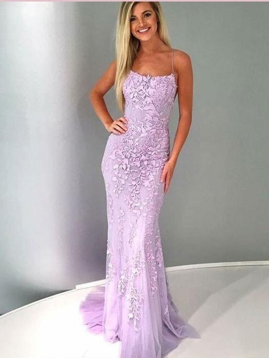 60fef672a0610 2019 Trumpet/Mermaid Spaghetti Straps Prom Dresses Lace Lilac Long Prom  Dress Evening Dress AMY2452