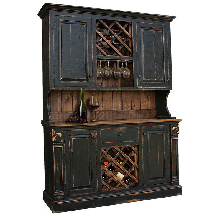 Rustic Fleur De Lis Hutch with Wine Racks. Available in 4', 5', 6' and custom sizes.