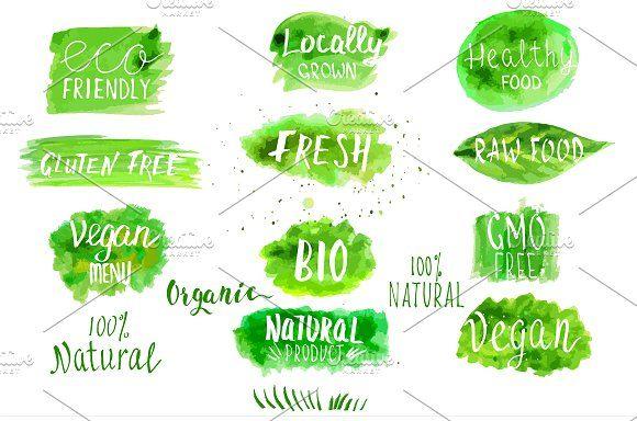 Eco, bio, organic vector labels. by Irina on @creativemarket