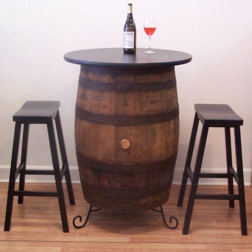 Vintage White Oak Barrel Table-c/ (2) Saddle Seat Bar Stools-Wine Tasting-Bistro-Bar-Pub-Home