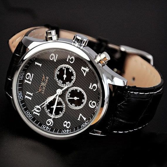 Stan vintage watches — Men's Watch Black Leather Automatic Mechanical Watch (WAT0245)