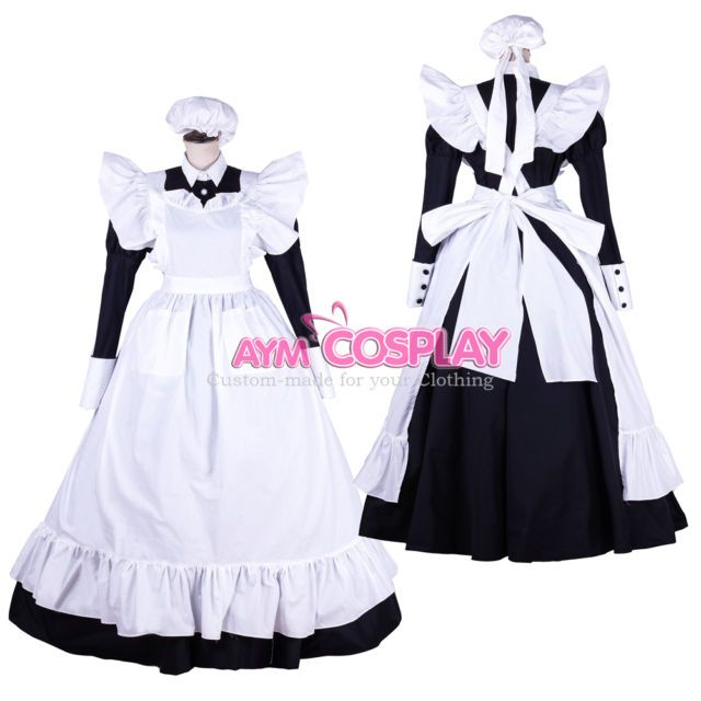 full-long lockable sissy maid french Cotton dress Unisex Tailor-made [G1753] | eBay