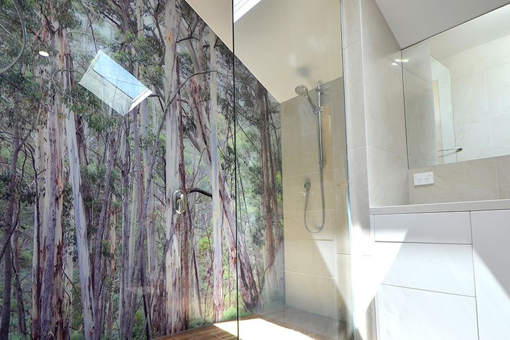 VIVANT GLASS | Printed glass shower wall panel Forget about cleaning tiled walls ever again. Toughened glass wall panels not only make a statement, they are quick and easy to clean. Imagine a dramatic feature wall panel with an image of a tranquil scene or a beautiful graphic tile design, a subtle print, or a solid colour. The options are endless.