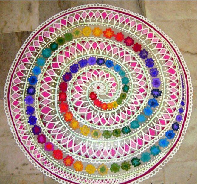 Gorgeous spiral kolam rangoli combination. © Vani Muthukrishnan