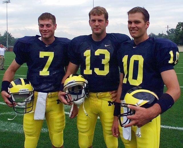 tom brady michigan wolverines | Tom Brady poses with Michigan teammates Drew Henson and Jason Kapsner ...