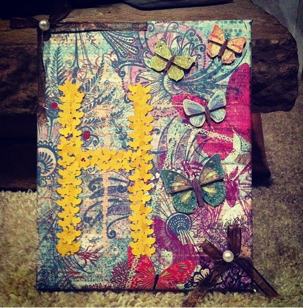 my initial on canvas (: