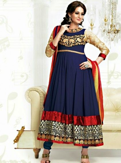 Shop Here http://www.silkmuseumsurat.in/salwar_kameez/navy-blue-color-faux-georgette-fabric-anarkali-suit Item #: 3917 Navy Blue Color Faux Georgette Fabric Anarkali Suit  Color : Blue Fabric : Faux Georgette Occasion : Bridal, Casual, Festival, Party, Reception, Wedding Style : Anarkali Dress Work : Embroidered, Patch Border