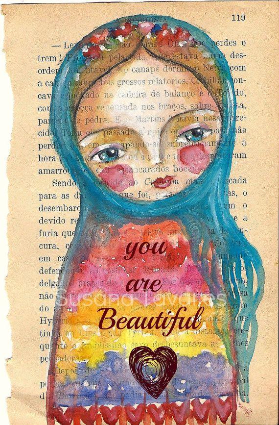 Matryoshka inspirational wall art Print You are beautiful