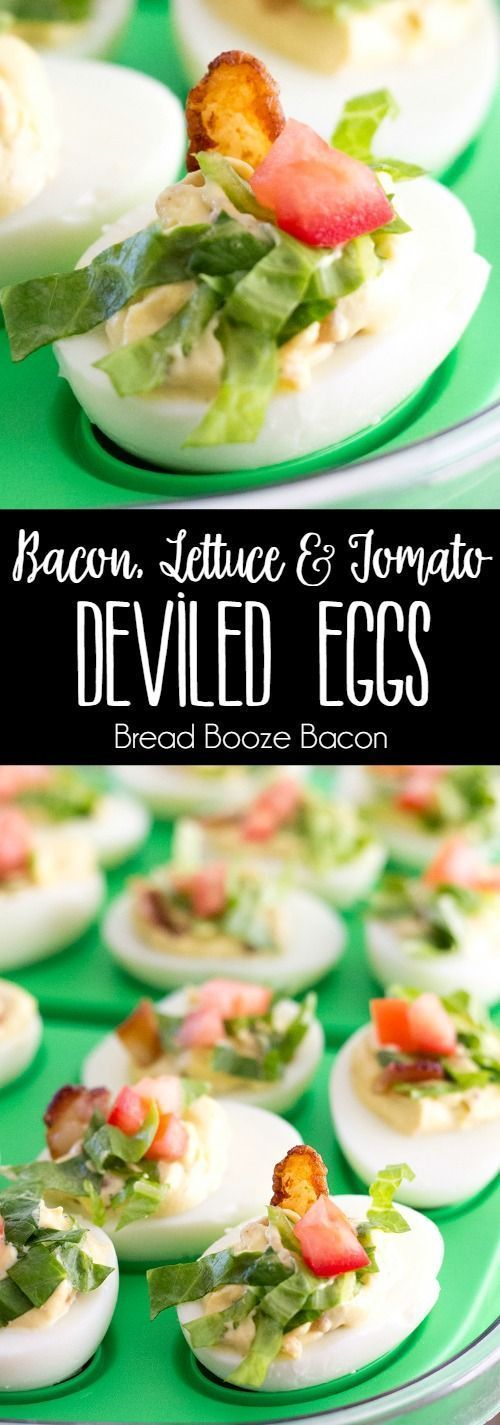 BLT Deviled Eggs are a poppable party bite loaded with bacon, lettuce, and tomato! Who needs a sandwich when you can have deviled eggs! via @breadboozebacon