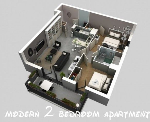 114 Cute Modern 2 Bedroom Apartment Floor Plans 3d House Plans House Plans Apartment Floor Plans