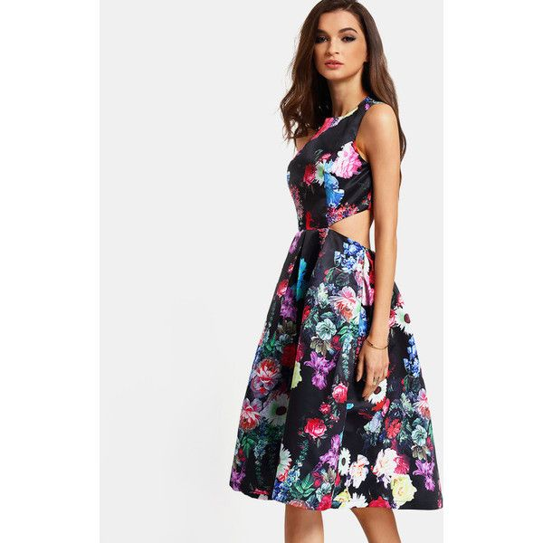 Multicolor Sleeveless Back Cut Out Floral Dress ($33) ❤ liked on Polyvore featuring dresses, color, vintage floral print dress, vintage dresses, sleeveless cocktail dress, flower print dress and colorful cocktail dresses