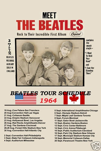 British Invasion The Beatles 1964 USA Tour Poster